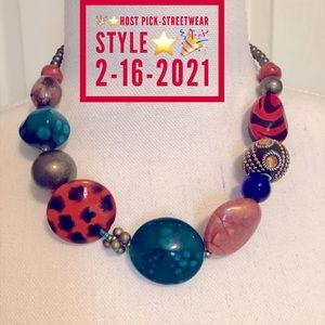 Brass Bead Crystals Multi Color Statement Necklace
